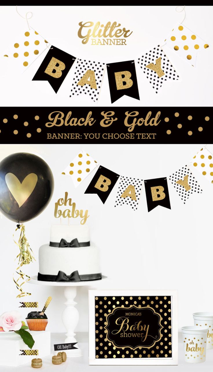 Attractive Black And Gold Baby Shower Decorations Black And White Baby Shower Elegant Baby  Shower Black And