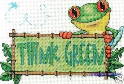 Dimensions Counted #crossstitch  THINK GREEN #DIY #crafts #needlework #crossstitching #decor
