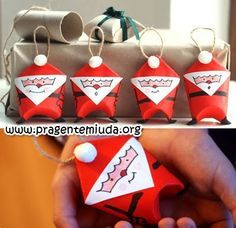 Karácsonyi Csomagolás újrahasznosított WC-papír tekercs