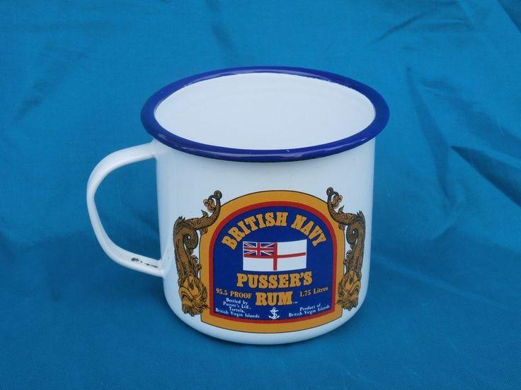 Royal Navy Pusser's Rum Metal Enamelware Large Cup Mug British Virgin Islands #PussersRum