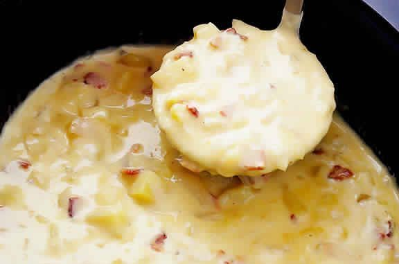 INGREDIENTS: 6 slices cooked bacon*, diced 3-4 cups good-quality chicken or vegetable stock 2pounds Yukon gold potatoes**, peeled (if desired) and diced 1 mediumwhite or yellow onion, peeled and diced 4 tablespoonsbacon grease* (or butter)