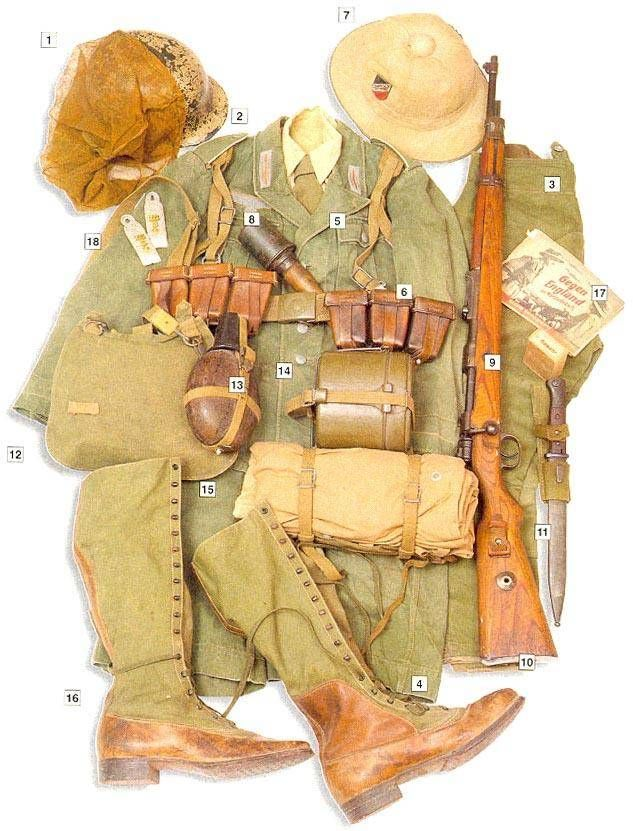 "Afrika Korps 01 - M-35 steel helmet in desert camo02 - M-40 olive jacket with white markings (infantry)  03 - M-40 breeches  04 - M-40 shorts  05 - main belt and webbing   06 - brown leather ammo pouches  07 - Tropenhelm cork helmet with Heeres insignia  08 - M-24 grenade  09 - 7,92 mm ammo pack  10 - 7,92 mm Mauser 98k rifle  11 - Seitengewehr 84/98 bayonet  12 - breadbag  13 - brown bakelite canteen (""coconut"")  14 - M-31 mess kit  15 - M-31 tent cloth  16 - tropical boots  17 - RAF…"