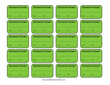 These green exhibit labels are for the defendant or respondent in a suit, and can be printed on sticker paper. Free to download and print