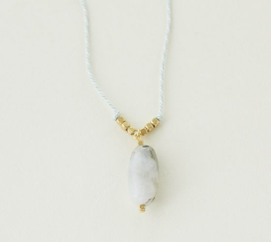 Kumihimo necklace with micocoro stone ― Kumihimo : plendor of the Kyoto dynasty during the Heian period. Quality silk is woven carefully into a beautiful braid by experienced artisans of Kyoto.