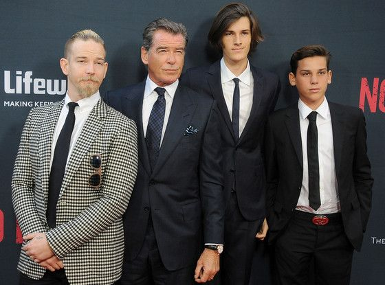 Pierce Brosnan and His Handsome Sons Enjoy a Boys' Night Out at No Escape Premiere   E! Online Mobile