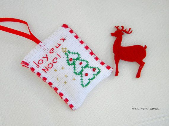 Christmas tree ornament Joyeux Noel holiday by prosinemi on Etsy