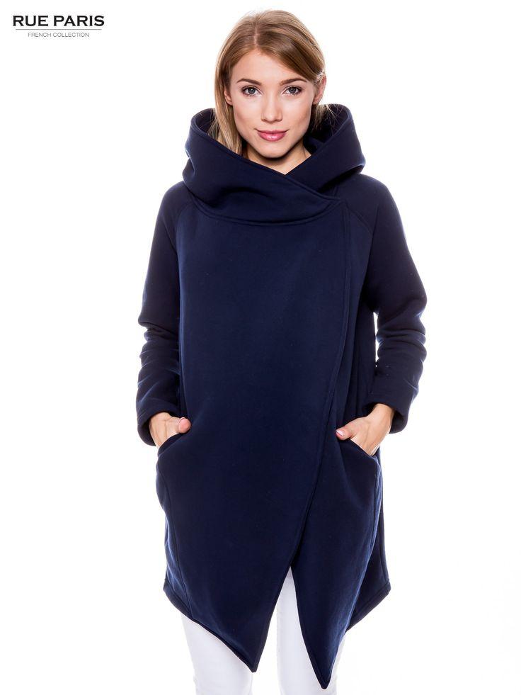 Granatowy płaszcz dresowy granatowy Bluzy \ Z kapturem Kurtki \ Kurtki Rue Paris \ Kurtki Rue Paris \ Bluzy \ Z kapturem Butik 147858