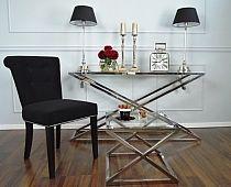 Krzesło LARGO CZARNE - tapicerowane z kołatką do salonu jadalni