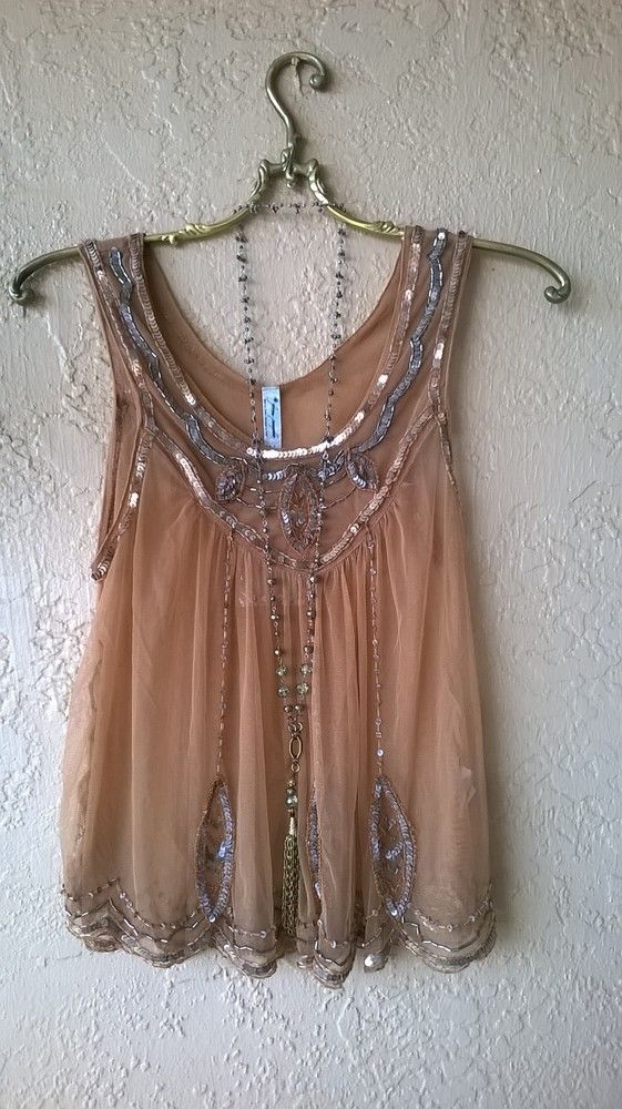 FREE PEOPLE GYPSY GODDESS NUDE BLUSH BEADED GATSBY FLAPPER TANK CAMISOLE: