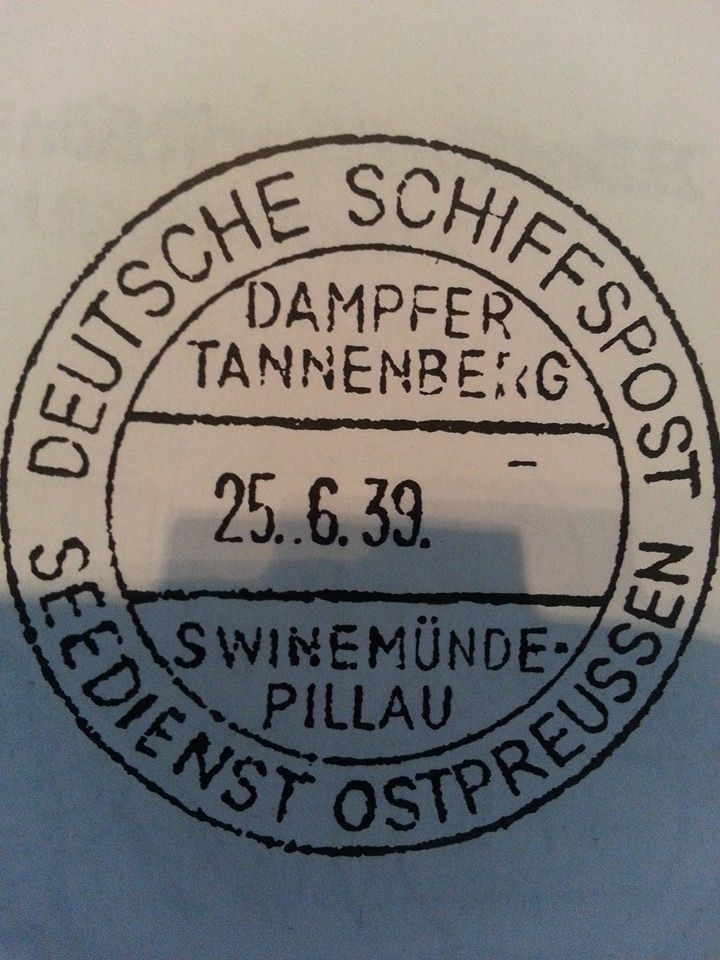 DEUTSHE SCHIFFSPOST SEEDIENST OSTPREUSSEN DAMPFER TANNENBERG 25.6.39 SWINEMUNDE PILLAU