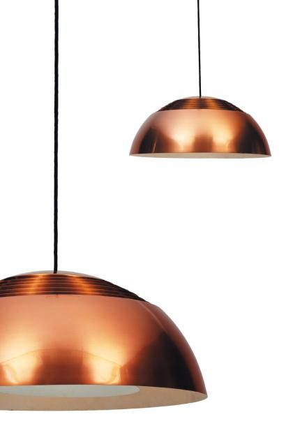 Great against a charcoal or black wall. Arne Jacobsen, Copper Suspension Lamp for Louis Poulsen, 1958.