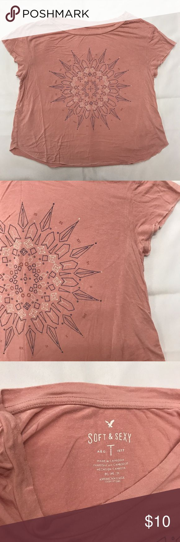 American Eagle blush pink soft & sexy tee American Eagle Outfitters soft & sexy tee in blush pink with a bohemian design. Women's size Medium in excellent used condition with no flaws. Clean and ready to ship! Check out my other listings for a bundle discount! American Eagle Outfitters Tops Tees - Short Sleeve