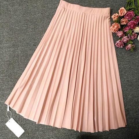 ceea0910dc0 2018 Crinkle Chiffon Women Girl Skirts Spring Elastic Waist Fold Slim Skirt  LONG Pleated Department Summer Download