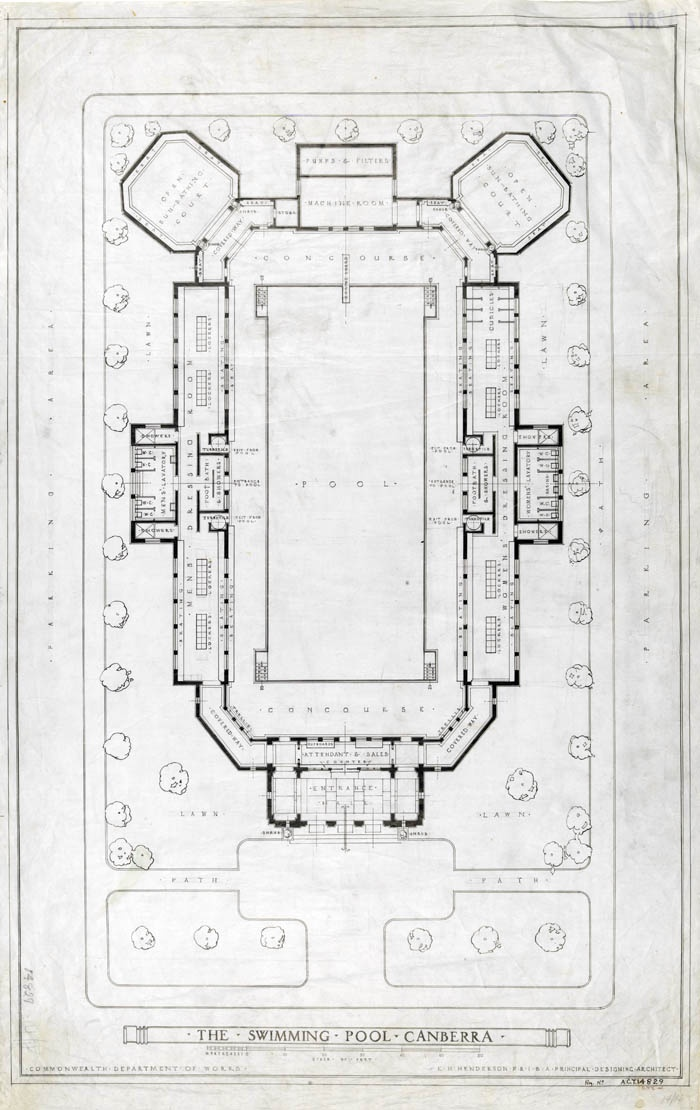 Architectural plan for the ground floor of Manuka Pool, 1930.    NAA: A2617, Section 83/14829