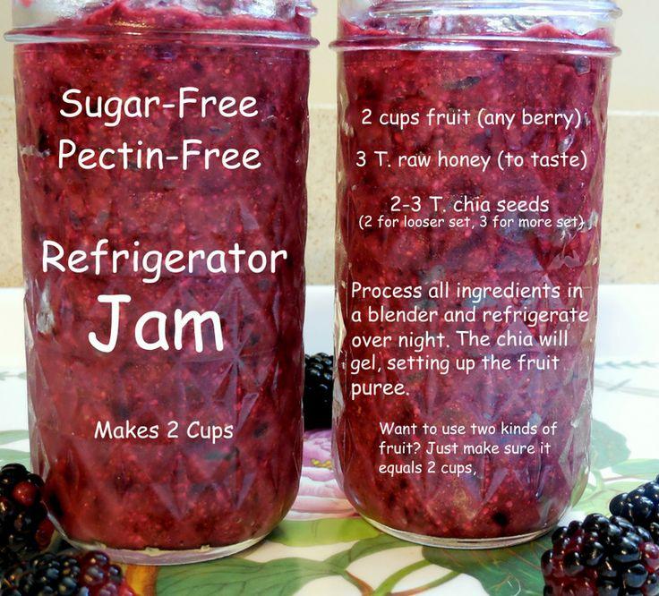 Homemade sugar free, pectin free refrigerator jam