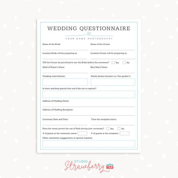 Wedding Photography Questionnaire Template Write Down Your Client