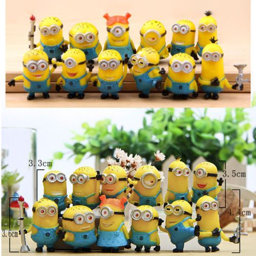 New Set of 12Pcs Despicable me 2 Cute Minions Movie Character Figures Doll Toy #Unbranded