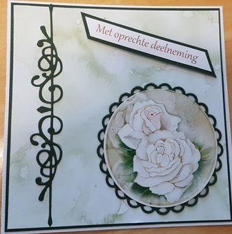 Eenvoudige kaart,ook hier de mooie randmal van Precious Marieke gebruikt. Het achtergrond papier is van Papercraft House