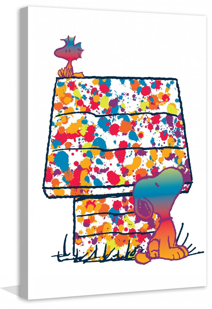 Description: This Peanuts canvas art brings a pop of color to any room. Woodstock and Snoopy are illustrated in gradient rainbow shades sitting in front of a splatter painted doghouse. - Peanuts wall