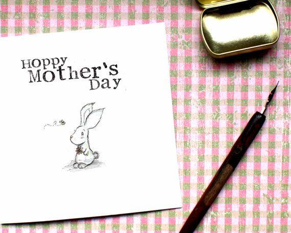 Cute Mothers Day Card Mummy Day Rabbit Card Mum Card by BEEcardsUK