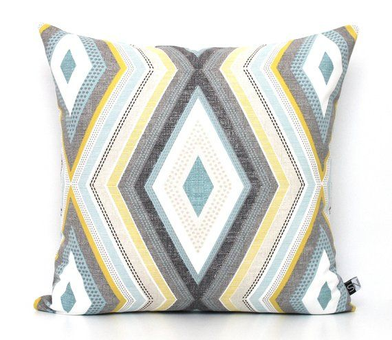 Geometric Yellow And Grey Pillow Cover Turquoise Cushions Aqua