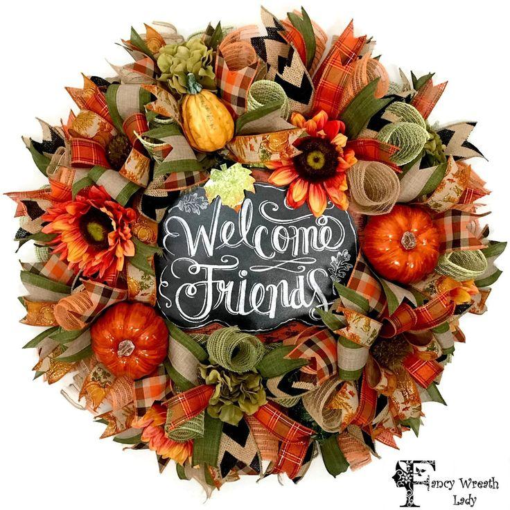 Welcome Friends Fall Door Wreath Burlap Front