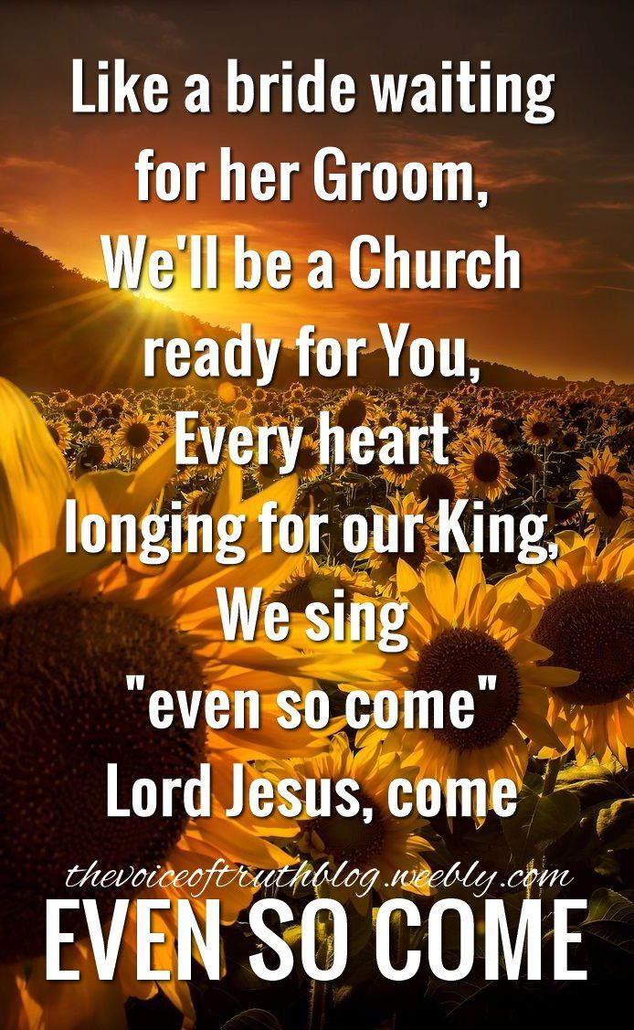 "Like a bride waiting for her Groom, We'll be a Church ready for You. Every heart, longing for our King. We sing ""even so come"" ....Lord Jesus, come! Even so come!! -- By Chris Tomlin thevoiceoftruthblog.weebly.com"