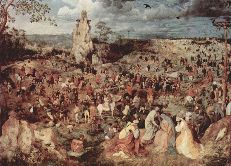 Pieter Bruegel d. Ä.  Aufstieg zum Kalvarienberg. 1564, Öl auf Holz, 124 × 170 cm. Wien, Kunsthistorisches Museum. Auftraggeber: N. Jonghelinck, Antwerpener Kaufman und Mäzen Bruegels. Niederlande (Flandern). Renaissance.  KO 02497