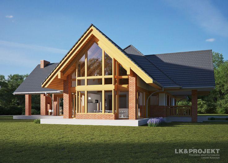 Czy podoba Wam się ta aranżacja domu jednorodzinnego ze spadzistym dachem?  http://lk-projekt.pl/lkand1290-produkt-9605.html #lkprojekt #domjednorodzinny #projekt #dom #mieszkajpieknie #projektdomu #dach #spadzistydach