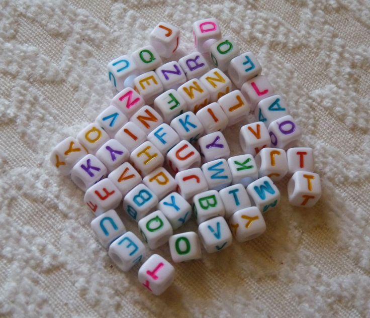 52x Alphabet Beads, 6mm Letter Beads, Plastic Letter Beads, Acrylic Beads, Alphabet Cube Beads, White Letter Beads, Square Letter Beads by TikisCraftShop on Etsy