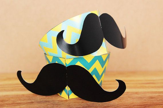 Printable 3D chevron patterned hipster mustache cupcake wrapper and topper set by Northern Whimsy on Etsy.