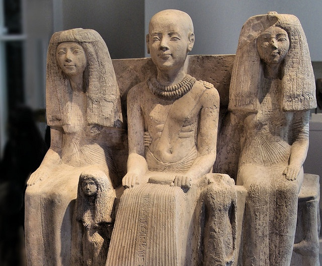 Family Group of Ptahmai, ca. 1250-1200 BC. From Saqqara, Egypt. Located in the Neues Museum, Berlin. Photo by kairoinfo4u, via Flickr