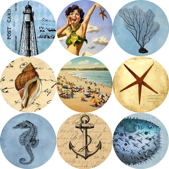 Bottle Cap Images 1 round circle Vintage Sea by Nowandthendesigns, $3.50