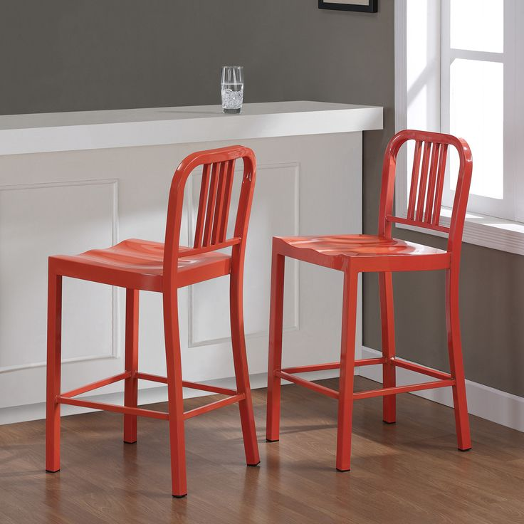 From Overstock Com  C2 B7 These Stylish Stools Showcase A Durable All Steel Construction And A Vibrant Tangerine Color