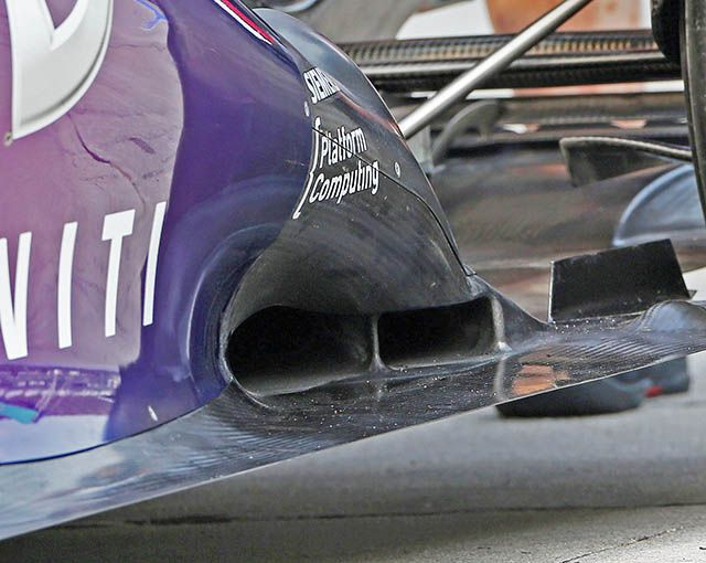 RB9′s tunnels under the exhaust exit.