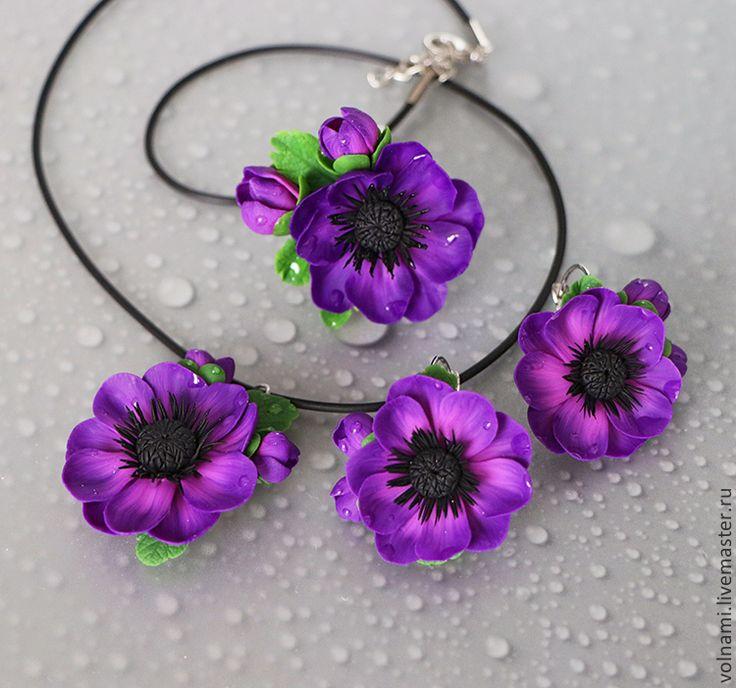 """Купить """"Анемона"""" серьги+ кулон - тёмно-фиолетовый, анемоны, анемон, цветы, цветочный"""