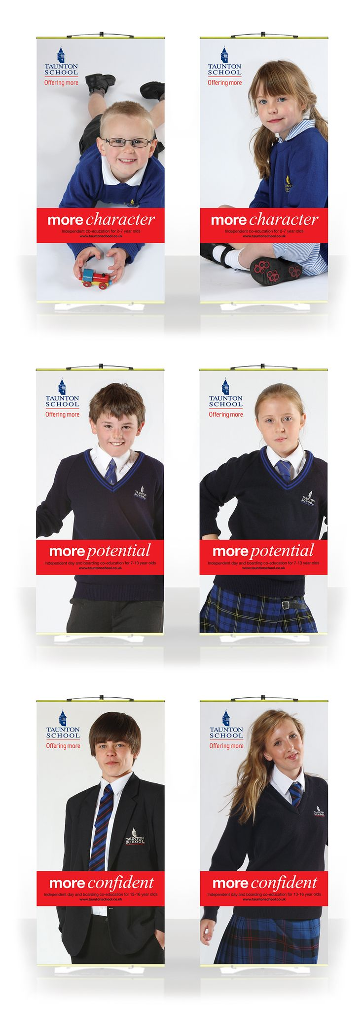 Promotional pop-up banners for Taunton School.