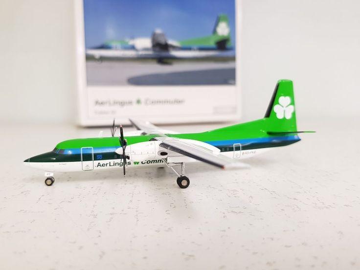 Herpa Wings 1:200 Fokker 50 Aer Lingus Commuter EI-FKE Ref: 553544 'with stand' #HerpaWings1200