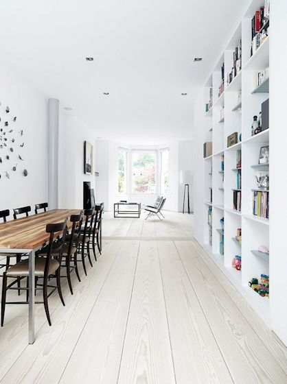 white wood floors.This is a great space...I love the bookshelves, and the wall at the table and forward ahead are chairs and window...This is lovely...I can't use anything white, because of my dog...