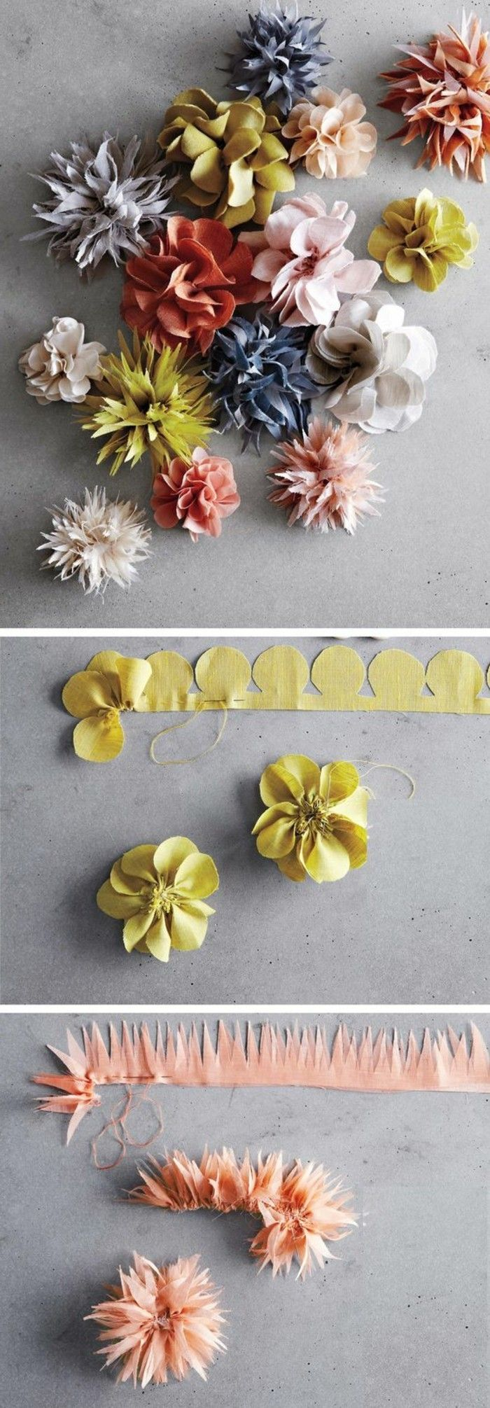 fleur en tissu tuto, deux façons différents pour fabriquer une fleur DIY et constituer une guirlande de fleurs
