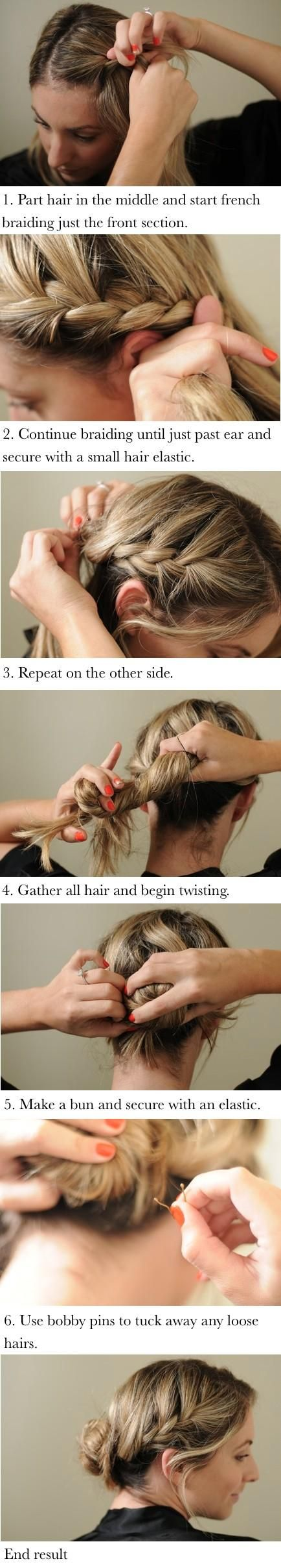 Braided bun how to: Braided Buns, Hairstyles, Hair Styles, Makeup