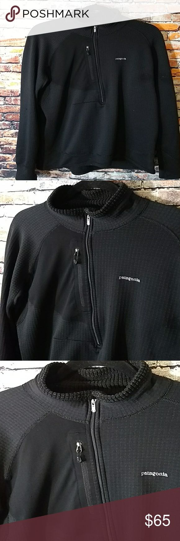 Mens Patagonia large Half Zip Polyester Pullover Size Large , it's a slimmer fit. I'm 5 ft 10 185pds and it's a little form fitting on me. Just a FYI before purchasing Patagonia Jackets & Coats Lightweight & Shirt Jackets