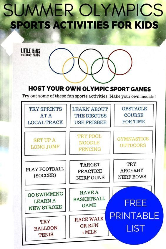 Olympic Sports Activities for Kids Summer Olympics Printable