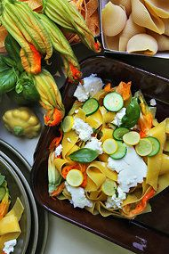 Pappardelle With Fresh Ricotta, Squash Blossoms and Basil Oil from ...