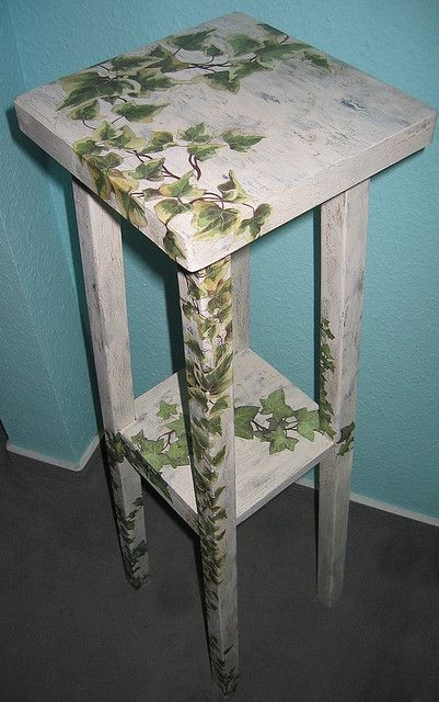 decoupage furniture | Decoupage furniture: weatherbeaten flower stand overgrown with ivy ...