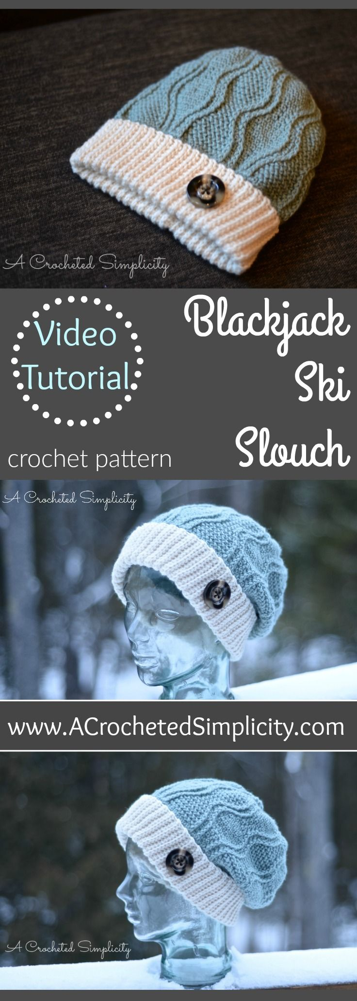 Crochet Pattern - Blackjack Ski Slouch w/ Video Tutorial by A Crocheted Simplicity