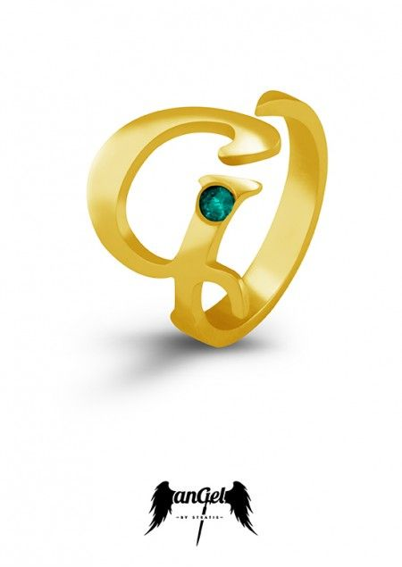 """G"" Ring , representing  a sword with the monogram G as  a hilt, which symbolizes the Gate to heaven. Gold Plated Silver, Emerald 0,08 ct. Click to find more jewellery pins! #style #design #ideas #jewellery #angelbystratis #voyjewellery #trends #fashion #womens fashion #love #stratis #stratisvoyiatzis #stratisvogiatzis"