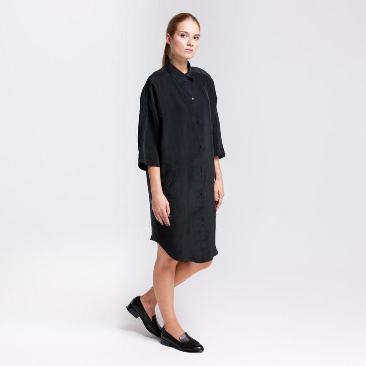 Monk Dress Graphite Elementy #monk #dress #viscose #graphite #oversize #shirt #elementy #polishfashion #classic #minimal #simplicity #sukienka #polskamoda #wiskoza #minimalizm #aw16