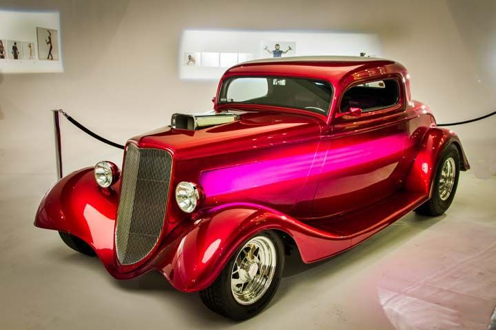 #1933 #Ford 3 Window #Coupe. The car's paint is all #HouseofKolor with a silver metalflake base covered in Kandy Pink. The last two coats of Kandy Pink also had some blue pearl mixed in.