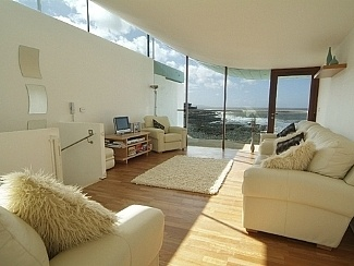 Great sea views from this gorgeous living room in Devon